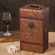 Vintage Exec-u-class Wooden Wine Box, Wrapped In Pu Leather W/ornate Brass Hinge