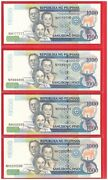 2011 Philippines 1000 Peso Nds Aquino Solid 4 P Nh 777777 888888 999999 1000000
