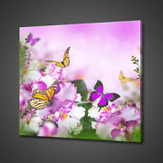 Beautiful Spring Violets Flowers Butterflies Canvas Print Wall Art Picture Photo