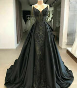 Mermaid Gothic Black Formal Dresses Evening Gown Party Prom Detachable Train