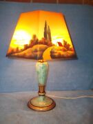 Wow 6 Sided Jefferson Reversed Painted Lamp Landscape Scenes 22 Tall