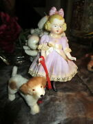 Rare Molded Antique Bisque Doll - Hertwig With Fur Dog = Germany