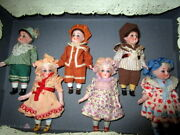 Card Board Sample Box Of 5 Antique Dolls- Hertwig Germany