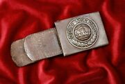 Wwi Prussian Steel Belt Buckle W/applied Center And Leather Tab - Dated 1915