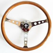 Steering Wheel Ford Mustang Vintage Wood Chrome Polyshed 380mm Classic Wooden