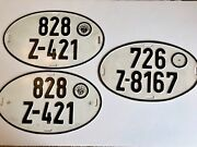 Vintage German Zoll Oval Expired License Plate Lot Of 3x Late 1950s-early 60s