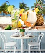 3d Drink Pineapple A11 Business Wallpaper Wall Mural Self-adhesive Commerce Zoe