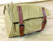 New Made Vintage Swiss Army Bicycle Handlebar Bag Pouch Canvas And Leather