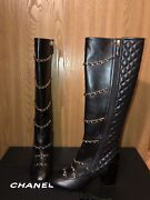 Nib Black Leather Cc Logo Quilted Chain Knee High Boots Sz 38.5