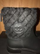 Auth Black Quilted Shearling Trim Cc Logo Short Leather Boots Shoes 39.5