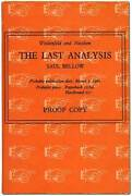 Saul Bellow / The Last Analysis Uncorrected Proof 1st 1966