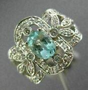 Estate Large 1.20ct Diamond And Aaa Aquamarine 14kt White Gold 3d Engagement Ring