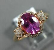 Estate 1.57ct Diamond And Aaa Sapphire 18kt Rose Gold Oval Classic Engagement Ring