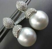 Estate Large .50ct Diamond And Aaa South Sea Pearl 14k White Gold Hanging Earrings