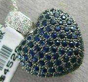 Estate Extra Large 4.31ct Diamond And Aaa Sapphire 18k White Gold 3d Heart Pendant