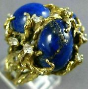 Antique Extra Large .36ct Diamond And Aaa Lapis 14k Yellow Gold 3d Nugget Fun Ring