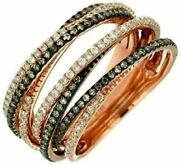 Estate Wide 1.33ct White And Chocolate Fancy Diamond 14kt Rose Gold Multi Row Ring