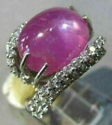Estate Extra Large 15.0ct Diamond And Aaa Star Ruby 18kt White Gold 3d Love Ring