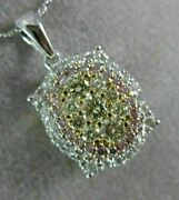 Estate .85ct White And Fancy Yellow Diamond 14kt Tri Color Gold 3d Flower Pendant