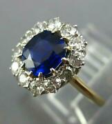 Antique 2.0ct Old Mine Diamond And Aaa Sapphire 18k Yellow Gold 3d Engagement Ring