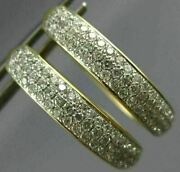 Estate Large 1.0ct Diamond 14kt 2 Tone Gold 3d Classic 3 Row Oval Hoop Earrings