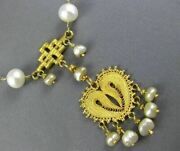 Antique Aaa South Sea Pearl 20k Yellow Gold 3d Lariat Chandelier Necklace 26066