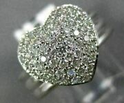 Antique Wide .70ct Diamond 18kt White Gold 3d Classic Pave Heart Fun Ring 14321