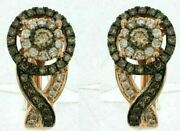 .99ct White And Chocolate Fancy Diamond 14kt Rose Gold 3d Flower Infinity Earrings