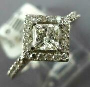 Estate .99ct Diamond 14kt White Gold 3d Round And Princess Halo Engagement Ring