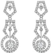 1.87ct Diamond 14kt White Gold Solitaire Double Halo Pentagon Hanging Earrings