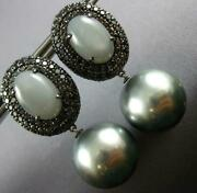Large 11ct Diamond And Moon Stone And Tahitian Pearl 18k Black Gold Hanging Earrings
