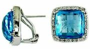 10.22ct Diamond And Aaa Blue Topaz 14kt White Gold 3d Square Halo Clip On Earrings