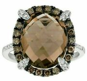 7.81ct White And Mocha Diamond And Aaa Smokey Topaz 14k White Gold 3d Oval Halo Ring