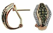 .90ct White And Chocolate Fancy Diamond 14k Rose Gold 3d Pave Clip On Fun Earrings