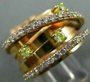 Estate Wide .65ct Pink And Fancy Yellow Diamond 18kt Rose Gold Multi Row Love Ring