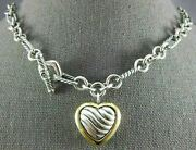 Large David Yurman 925 Silver And 18kt Yellow Gold 3d Heart Toggle Necklace 26586
