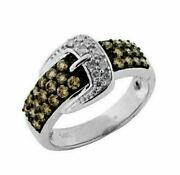 Estate 1.06ct White And Chocolate Fancy Diamond 14kt White Gold 3d Belt Fun Ring