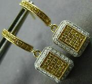 Estate .58ct White And Fancy Yellow Diamond 18kt Yellow Gold 3d Square Earrings