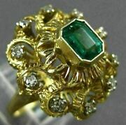 Antique Large .91ct Old Mine Diamond And Aaa Emerald 14kt Yellow Gold Flower Ring