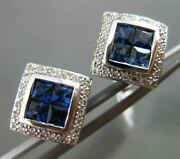 Estate 1.61ct Diamond And Sapphire 18kt White Gold Square Filigree Clip On Earring