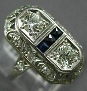 Antique Wide .70ct Old Mine Diamond And Aaa Sapphire Platinum Open Filigree Ring