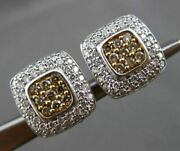 Estate 1.0ct Fancy Yellow And White Diamond 14k White Gold Square Clip On Earrings