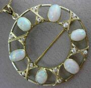 Antique Massive 10.72ct Diamond And Aaa Opal 14k Yellow Gold Pendant Brooch 25771