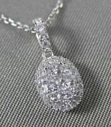 Estate .45ct Diamond 18kt White Gold 3d Oval Cluster Floating Pendant And Chain