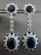 Antique Large 6.91ct Diamond And Sapphire 14k White Gold Filigree Hanging Earrings