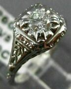 Antique .40ct Diamond 18kt White Gold Solitaire Filigree Engagement Ring 21614
