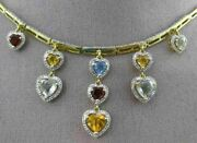Estate Large 3.84ct Diamond And Aaa Multi Gem 18kt Yellow Gold Heart Drop Necklace