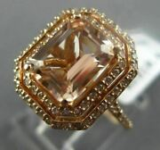 2.49ct Diamond And Morganite 14kt Rose Gold 3d Double Halo Octagon Engagement Ring