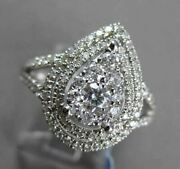 Antique Wide .85ct Diamond 18kt White Gold Pear Shape Cluster Halo Design Ring