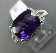 2.89ct Diamond And Aaa Cushion Amethyst 14k White Gold 3d Filigree Engagement Ring